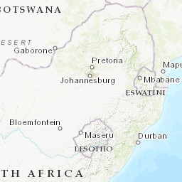 South Africa Flood Map: Elevation Map, Sea Level Rise Map